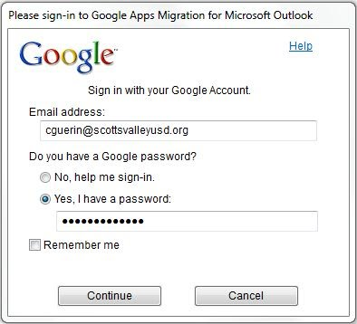 Google Migration Sign-in