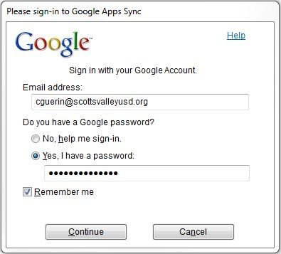 Google Sync Sign-in